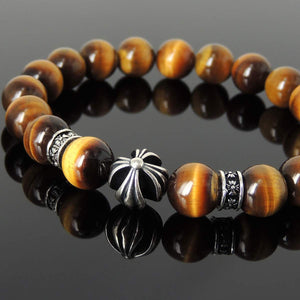 10mm Brown Tiger Eye Healing Gemstone Bracelet with S925 Sterling Silver Cross & Spacer Beads - Handmade by Gem & Silver BR1095