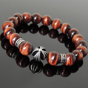 10mm Red Tiger Eye Healing Gemstone Bracelet with S925 Sterling Silver Cross & Spacer Beads - Handmade by Gem & Silver BR1096