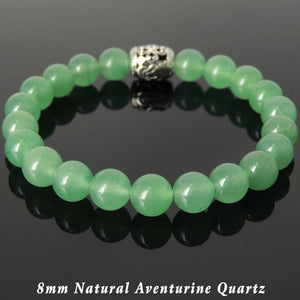 8mm Aventurine Quartz Healing Gemstone Bracelet with S925 Sterling Silver Virgin Mary Praying Barrel Bead - Handmade by Gem & Silver BR1133