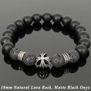 10mm Matte Black Onyx & Lava Rock Healing Gemstone Bracelet with S925 Sterling Silver Cross & Spacer Beads - Handmade by Gem & Silver BR1107