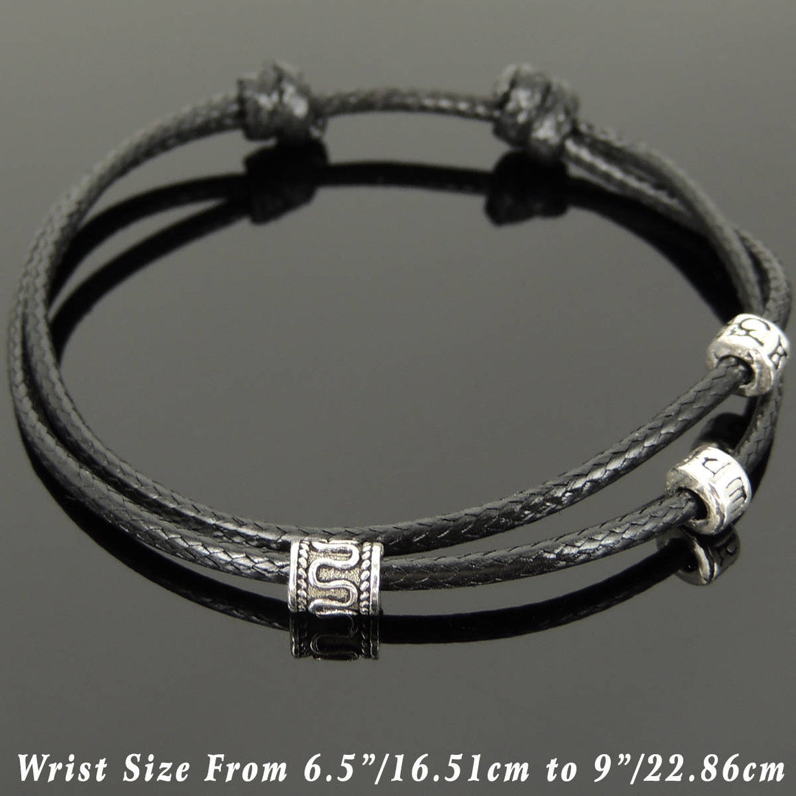 Adjustable Wax Rope Bracelet with S925 Sterling Silver Barrel & Meditation OM Beads - Handmade by Gem & Silver BR1114