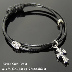 Adjustable Wax Rope Bracelet with S925 Sterling Silver Vintage Cross Pendant & Barrel Spacer Beads - Handmade by Gem & Silver BR1118