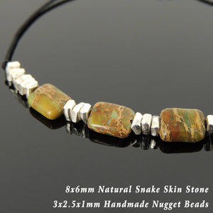Snake Skin Stone Adjustable Braided Gemstone Bracelet with S925 Sterling Silver Nugget Beads - Handmade by Gem & Silver BR1120
