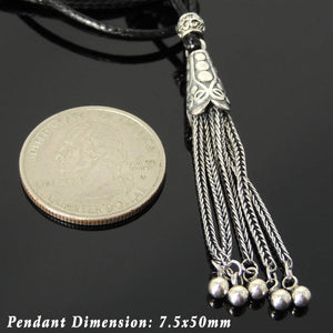 Adjustable Wax Rope Necklace with S925 Sterling Silver Peacock Charm Pendant & Barrel Bead - Handmade by Gem & Silver NK188