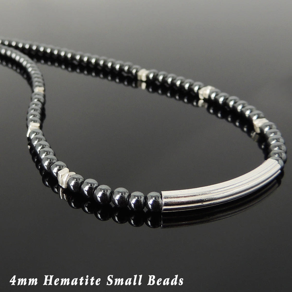 4mm Hematite Healing Gemstone Necklace with S925 Sterling Silver Slim Elegant Charm & Clasp - Handmade by Gem & Silver NK189