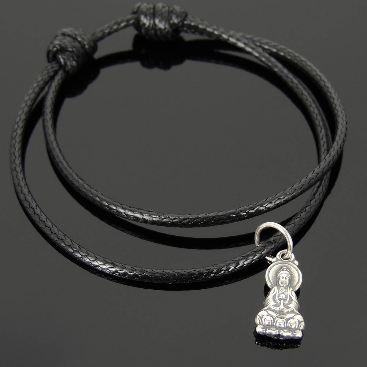 Adjustable Wax Rope Bracelet with S925 Sterling Silver Guanyin Buddha Pendant for Positive Healing Energy - Handmade by Gem & Silver BR1126