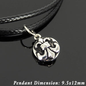Adjustable Wax Rope Bracelet with S925 Sterling Silver Round Vintage Fleur de Lis Pendant for Positive Healing Energy - Handmade by Gem & Silver BR1127