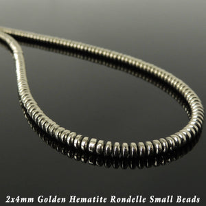 2x4mm Rondel Gold Hematite Healing Gemstone Necklace with S925 Sterling Silver Seamless Beads & S-Hook Clasp - Handmade by Gem & Silver NK191