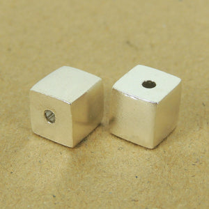 2 PCS Cube Beads - S925 Sterling Silver WSP537X2