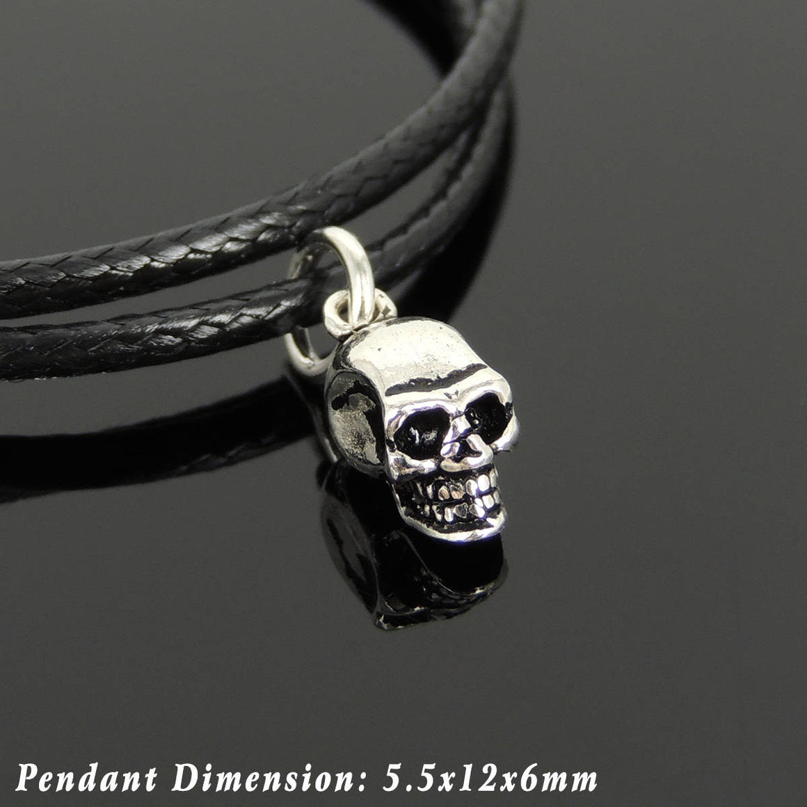 Adjustable Wax Rope Bracelet with S925 Sterling Silver Small Skull Protection Bead for Positive Healing Energy - Handmade by Gem & Silver BR1130