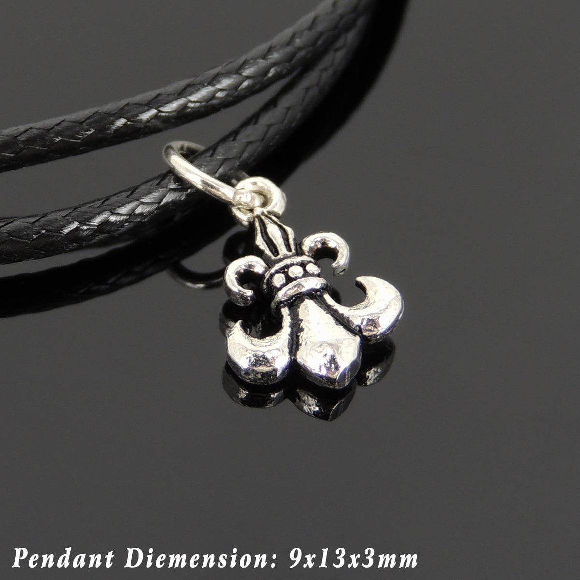 Adjustable Wax Rope Bracelet with S925 Sterling Silver Fleur de Lis Pendant - Handmade by Gem & Silver BR1131