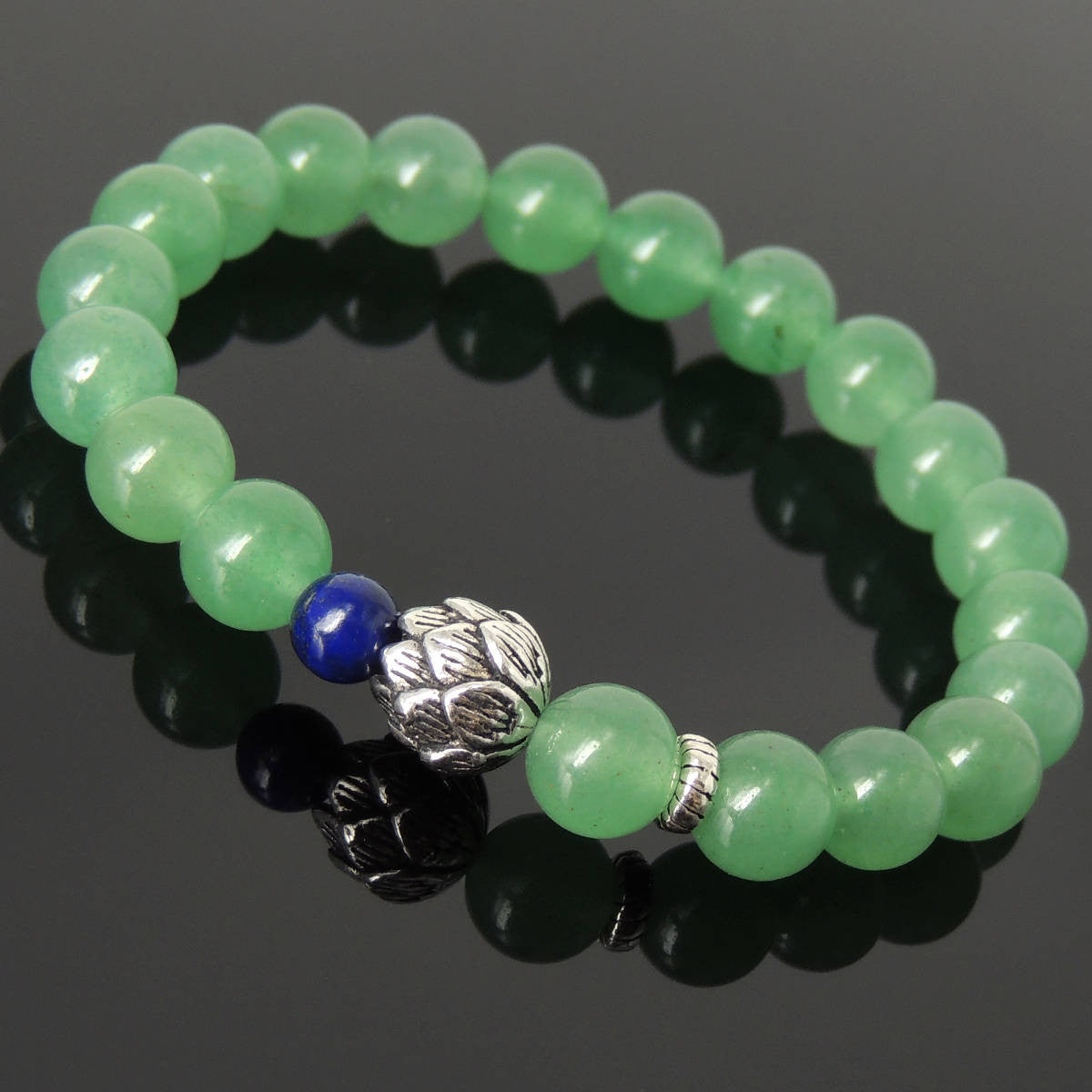 Natural Aventurine Quartz & Lapis Lazuli Gemstone Bracelet with S925 Sterling Silver Lotus Bead - Handmade by Gem & Silver BR1134