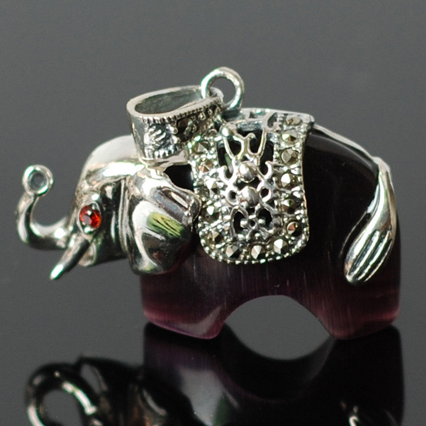 1 Pendant | Natural Opal Elephant with Garnet Eyes | Purple and Green Color Options - Genuine S925 Sterling Silver