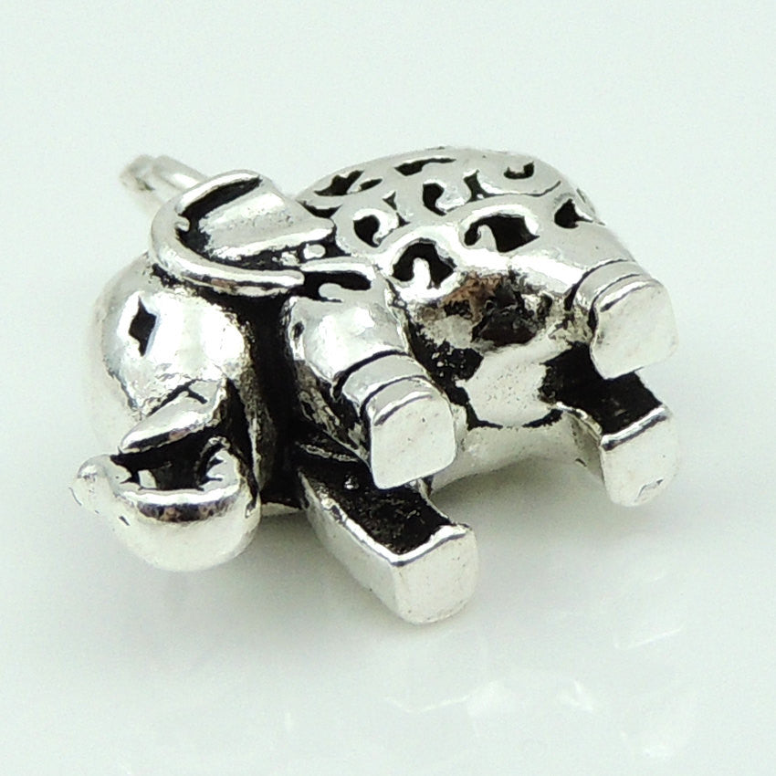 1 PC Vintage Baby Elephant Protection Charm - S925 Sterling Silver WSP128X1