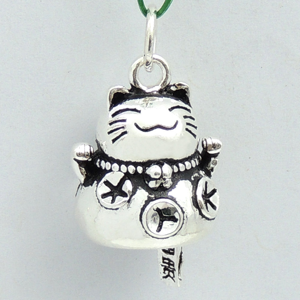 1 PC Vintage Lucky Cat Protection & Wealth Pendant - S925 Sterling Silver WSP204X1