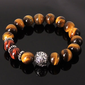 12mm Brown & Red Tiger Eye Healing Gemstone Bracelet with S925 Sterling Silver Bead and Spacers - Handmade by Gem & Silver BR158