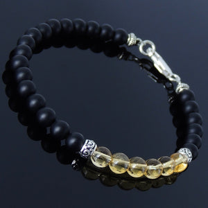 5mm Matte Black Onyx & Citrine Quartz Healing Gemstone Bracelet with S925 Sterling Silver Artisan Spacer Beads & Clasp - Handmade by Gem & Silver BR185