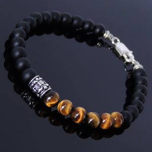 6mm Matte Black Onyx & Brown Tiger Eye Healing Gemstone Bracelet with S925 Sterling Silver Fleur de Lis Barrel Bead & Clasp - Handmade by Gem & Silver BR190