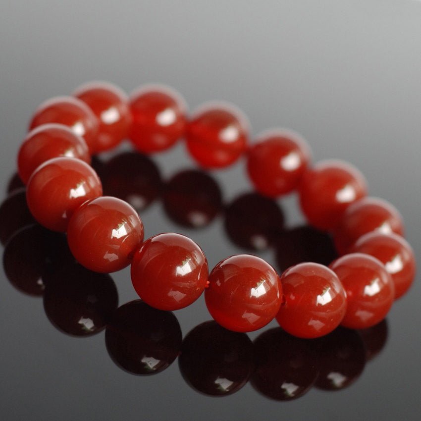 14mm Red Agate Healing Gemstone Bracelet - Handmade by Gem & Silver BR044