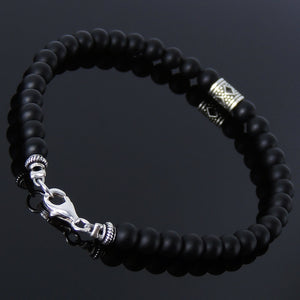 5mm Matte Black Onyx Healing Gemstone Bracelet with S925 Sterling Silver Diamond Cutout Barrel Bead & Clasp - Handmade by Gem & Silver BR171