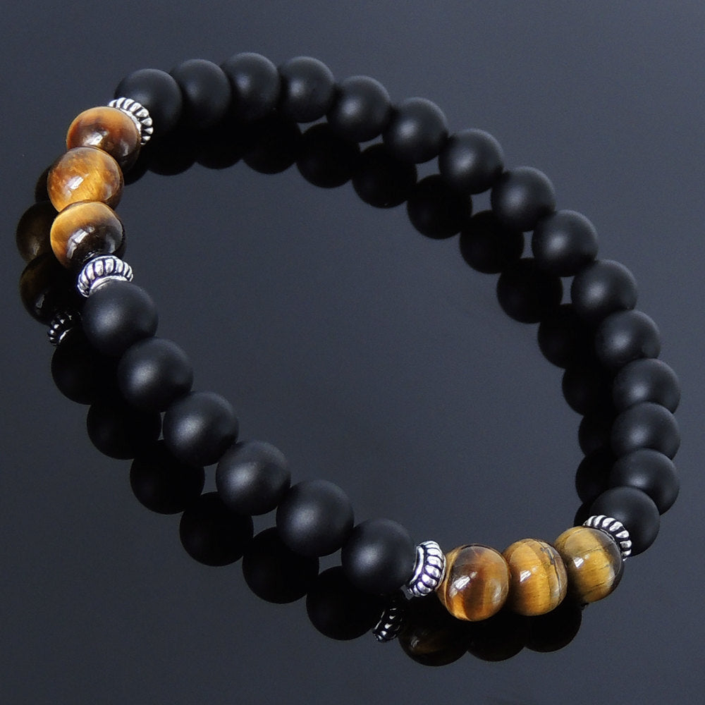 6mm Brown Tiger Eye & Matte Black Onyx Healing Gemstone Bracelet with S925 Sterling Silver Spacers - Handmade by Gem & Silver BR235