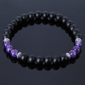 6mm Amethyst & Matte Black Onyx Healing Gemstone Bracelet with S925 Sterling Silver Spacer Beads - Handmade by Gem & Silver BR236