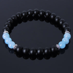 6mm Aquamarine Crystal & Matte Black Onyx Healing Gemstone Bracelet with S925 Sterling Silver Spacers - Handmade by Gem & Silver BR239