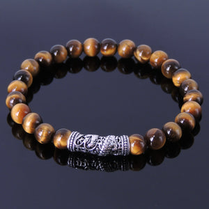 6mm Brown Tiger Eye Healing Gemstone Bracelet with S925 Sterling Silver Dragon Protection Charm - Handmade by Gem & Silver BR156