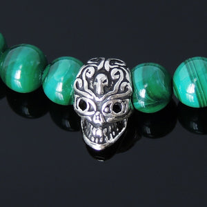 6mm Malachite & Matte Black Onyx Healing Gemstone Bracelet with S925 Sterling Silver Día de los Muertos Sugar Skull Inspired Bead & Fleur de Lis Spacers- Handmade by Gem & Silver BR247