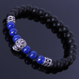 6mm Lapis Lazuli & Matte Black Onyx Healing Gemstone Bracelet with S925 Sterling Silver Day of the Dead Sugar Skull Bead & Fleur de Lis Spacers- Handmade by Gem & Silver BR249