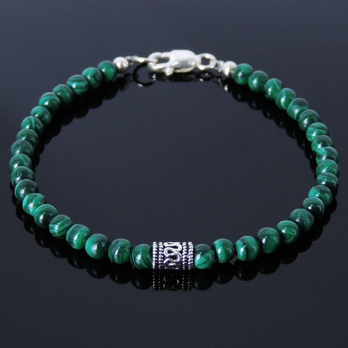 4.5mm Malachite Healing Gemstone Bracelet with S925 Sterling Silver Artisan Barrel Bead & Clasp - Handmade by Gem & Silver BR242