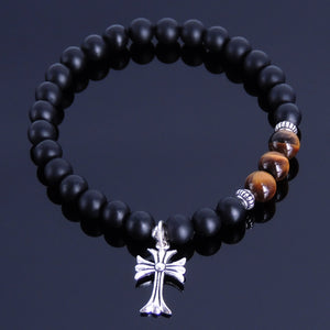6mm Brown Tiger Eye & Matte Black Onyx Healing Gemstone Bracelet with S925 Sterling Silver Spacers & Courage Cross Pendant - Handmade by Gem & Silver BR255