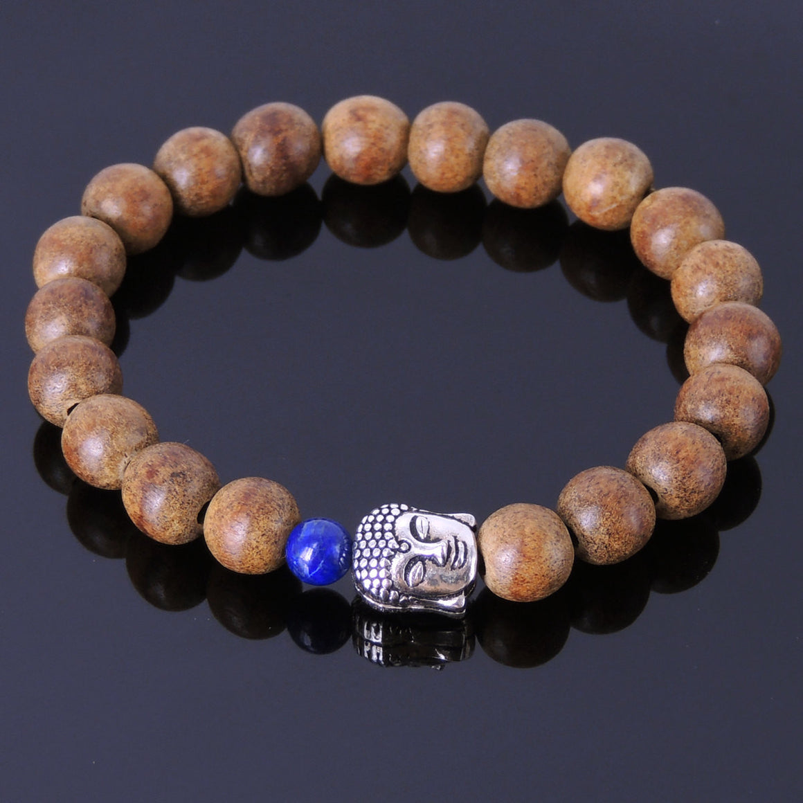 Lapis Lazuli & Agarwood Bracelet for Prayer & Meditation with S925 Sterling Silver Guanyin Buddha Protection Bead - Handmade by Gem & Silver BR215