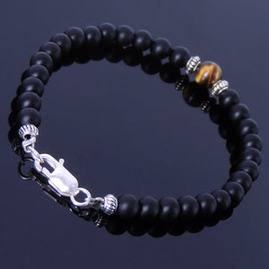 Matte Black Onyx & Brown Tiger Eye Healing Gemstone Bracelet with S925 Sterling Silver Spacer Beads & Clasp - Handmade by Gem & Silver BR262