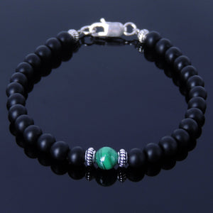 Malachite & Matte Black Onyx Healing Gemstone Bracelet with S925 Sterling Silver Spacers & Clasp - Handmade by Gem & Silver BR264