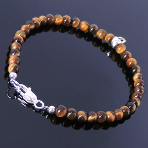 4mm Brown Tiger Eye Healing Gemstone Bracelet with S925 Sterling Silver Protection Skull Bead & Clasp - Handmade by Gem & Silver BR225
