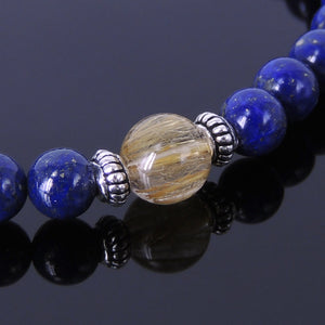 Golden Rutilated Quartz & Lapis Lazuli Healing Gemstone Bracelet with S925 Sterling Silver Spacers - Handmade by Gem & Silver BR267