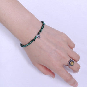 4.5mm Malachite Healing Gemstone Bracelet with S925 Sterling Silver Protective Skull Bead & Clasp - Handmade by Gem & Silver BR273