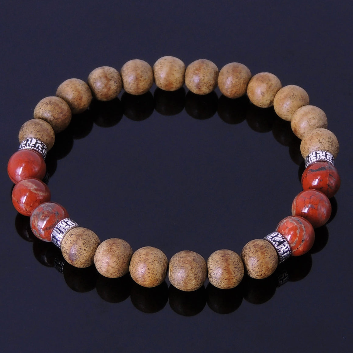 8mm Vietnam Agarwood & Jasper Stone Bracelet for Prayer & Meditation with S925 Sterling Silver Buddhism Spacer Beads - Handmade by Gem & Silver BR221