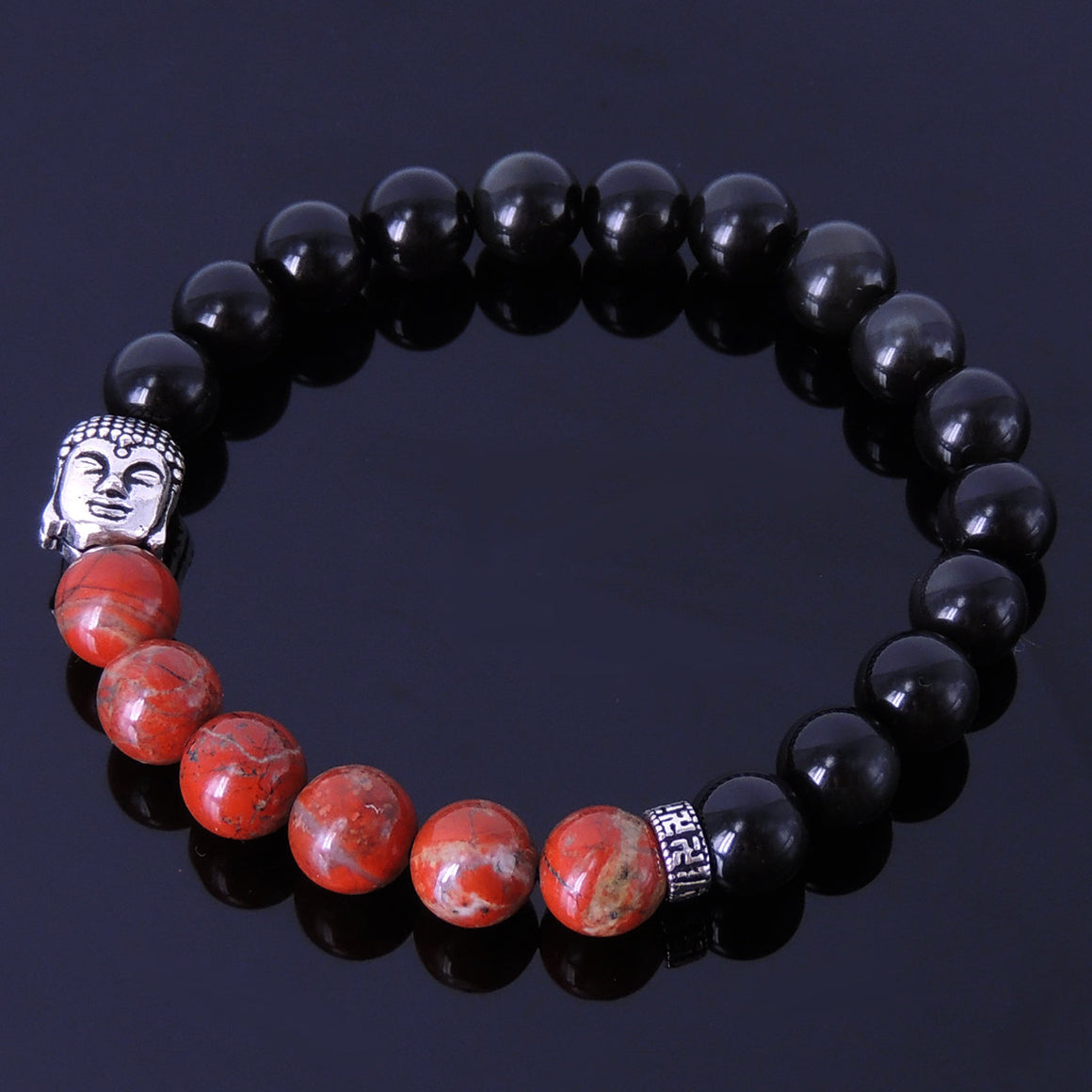 8mm Red Jasper Stone & Rainbow Black Obsidian Healing Gemstone Bracelet with S925 Sterling Silver Sakyamuni Buddha & OM Meditation Spacer Bead - Handmade by Gem & Silver BR194