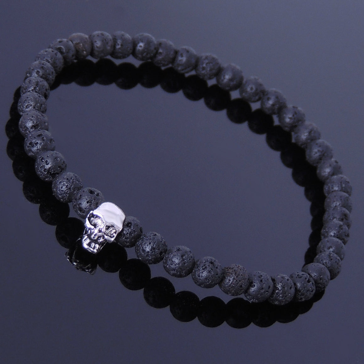 4mm Lava Rock Healing Stone Bracelet with S925 Sterling Silver Skull - Handmade by Gem & Silver BR288E