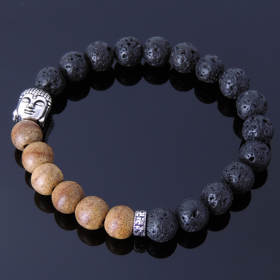 8mm Agarwood & Lava Rock Meditation Bracelet with S925 Sterling Silver Buddhism Spacer & Guanyin Buddha Bead - Handmade by Gem & Silver BR291