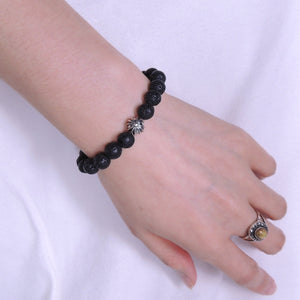 8mm Lava Rock Healing Stone Bracelet with S925 Sterling Silver Star Bead - Handmade by Gem & Silver BR298