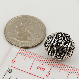 1 PC Vintage Ornate Dragon Pattern Bead - S925 Sterling Silver WSP103X1