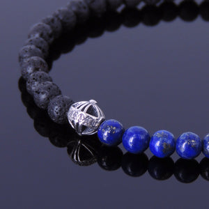 4mm Lapis Lazuli & Lava Rock Healing Gemstone Bracelet with S925 Sterling Silver Round Gothic Cross & Clasp - Handmade by Gem & Silver BR301
