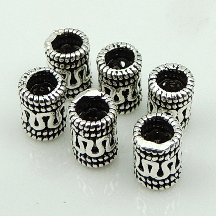 12 PCS Vintage Celtic Barrel Beads - S925 Sterling Silver WSP119X12