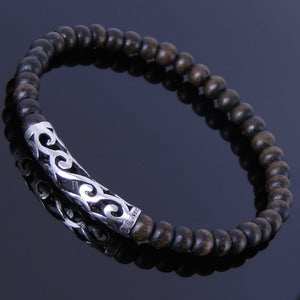5mm Earth Agarwood Mala Healing Bracelet with S925 Sterling Silver Wave Charm - Handmade by Gem & Silver BR305