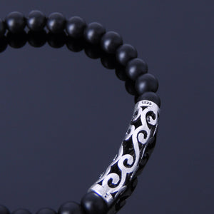 5mm Matte Black Onyx Healing Gemstone Bracelet with S925 Sterling Silver Japanese Wave Charm - Handmade by Gem & Silver BR304
