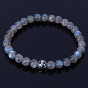 6mm Labradorite Healing Gemstone Bracelet with S925 Sterling Silver Round Celtic Cross Bead - Handmade by Gem & Silver BR311