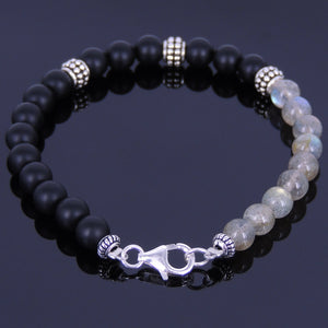 6mm Labradorite & Matte Black Onyx Healing Gemstone Bracelet with S925 Sterling Silver Spacer Beads & Clasp - Handmade by Gem & Silver BR145